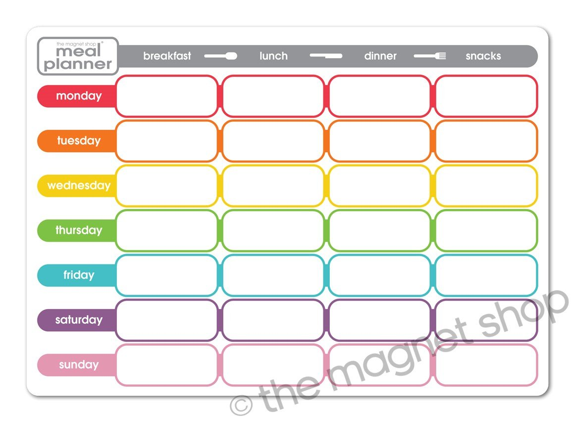 The Magnet Shop NEW AND IMPROVED! Weekly Magnetic Meal Diet Planner - A4 Dry Wipe Whiteboard Notice Memo Board (Multicoloured)