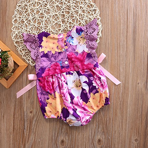 Floral Romper Jersey Ruffles Bowknot Bodysuit for Baby Girls (12-18 Months, Purple)
