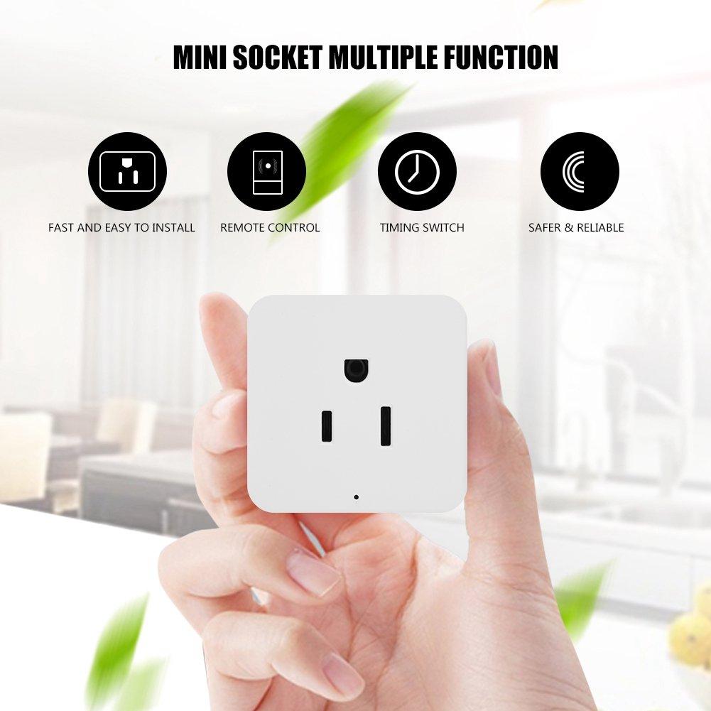 fosa Smart Socket, Wifi Smart Plug Remote Control Socket Outlet Mini Timing Switch for Home Appliances (US Plug,110-240V)