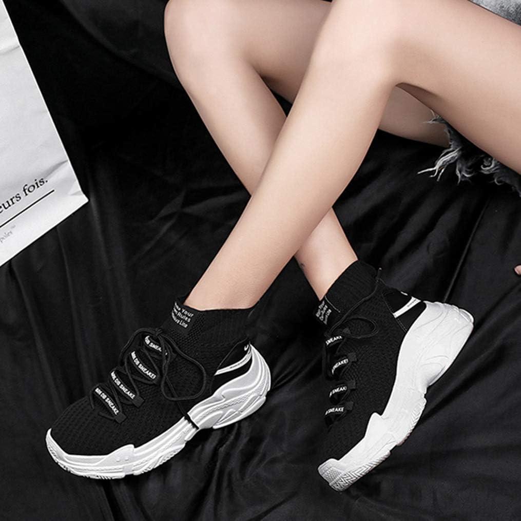 Femmes Sneakers Air Mesh Respirant Haute Haute Chaussures de Sport en Plein Air Chaussures À Lacets pour Courir Shopping Fitness A4