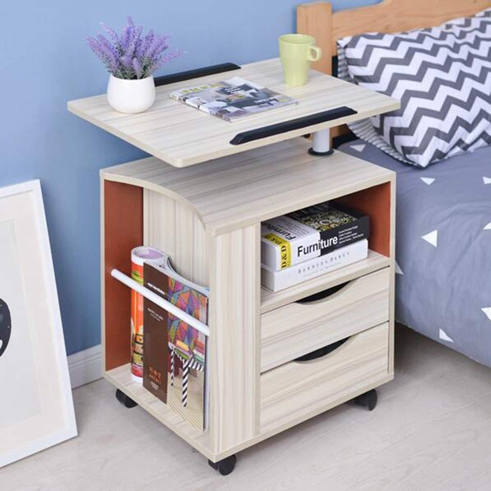 Farbe : Black Walnut R/äder /öffnen Regal 4 Farben Computertische FEI Funktionelle drehbare Nachttisch-Justierbare h/ölzerne Nachttisch-F/ächern