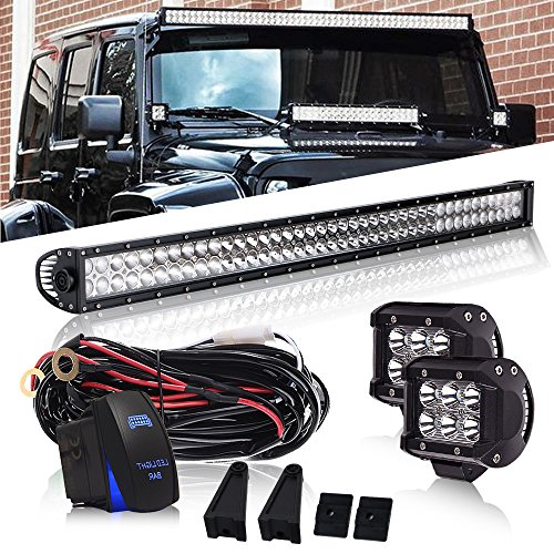 DOT 42Inch 240W Led Light Bar On Grill Windshield Bumper + 4Inch Driving Fog Lights W/DT Connector Wiring Harness Rocker Switch for Toyota Tacoma SUV ATV Truck Jeep Wrangler Polaris ()
