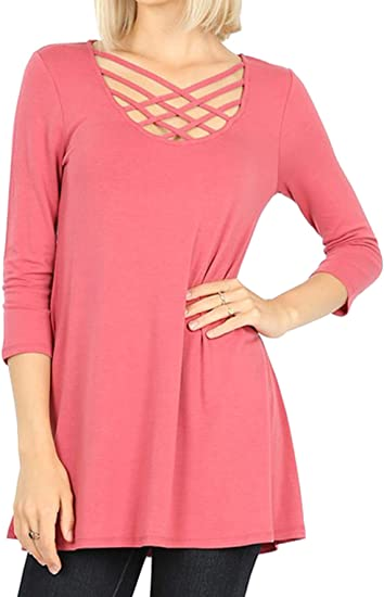Women/'s Criss Cross Lace Up Caged Short Sleeve Flowy Flared Stretch Dress Top