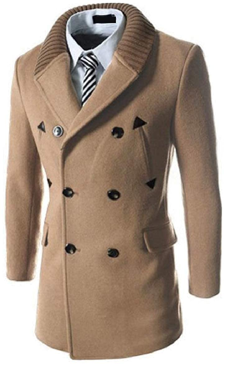 Abetteric Men's Fall & Winter Double-Breasted Fitted Pure Color Stitching Dust Coat