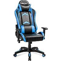 Merax Gaming Stuhl Racing Stuhl Computerstuhl Chefsessel Kunstleder Höhenverstellbarer mit verstellbaren armlehnen und wippfunktion,ergonomisches Design Kunstleder kopfstütze lendenkissen bis 150kg