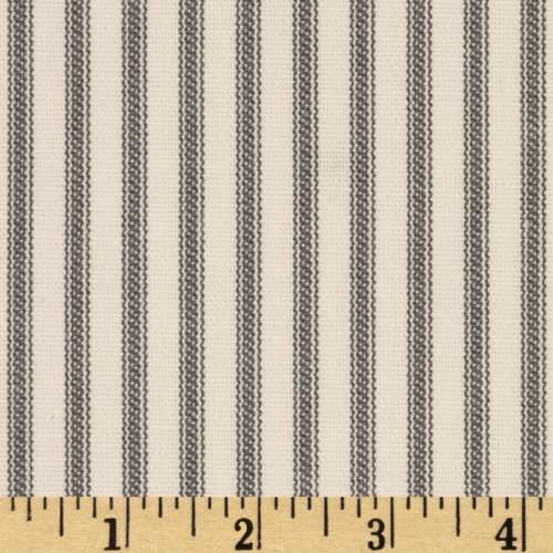 Santee Print Works Vertical Ticking Stripe Ivory - White Fabric Stripe Upholstery