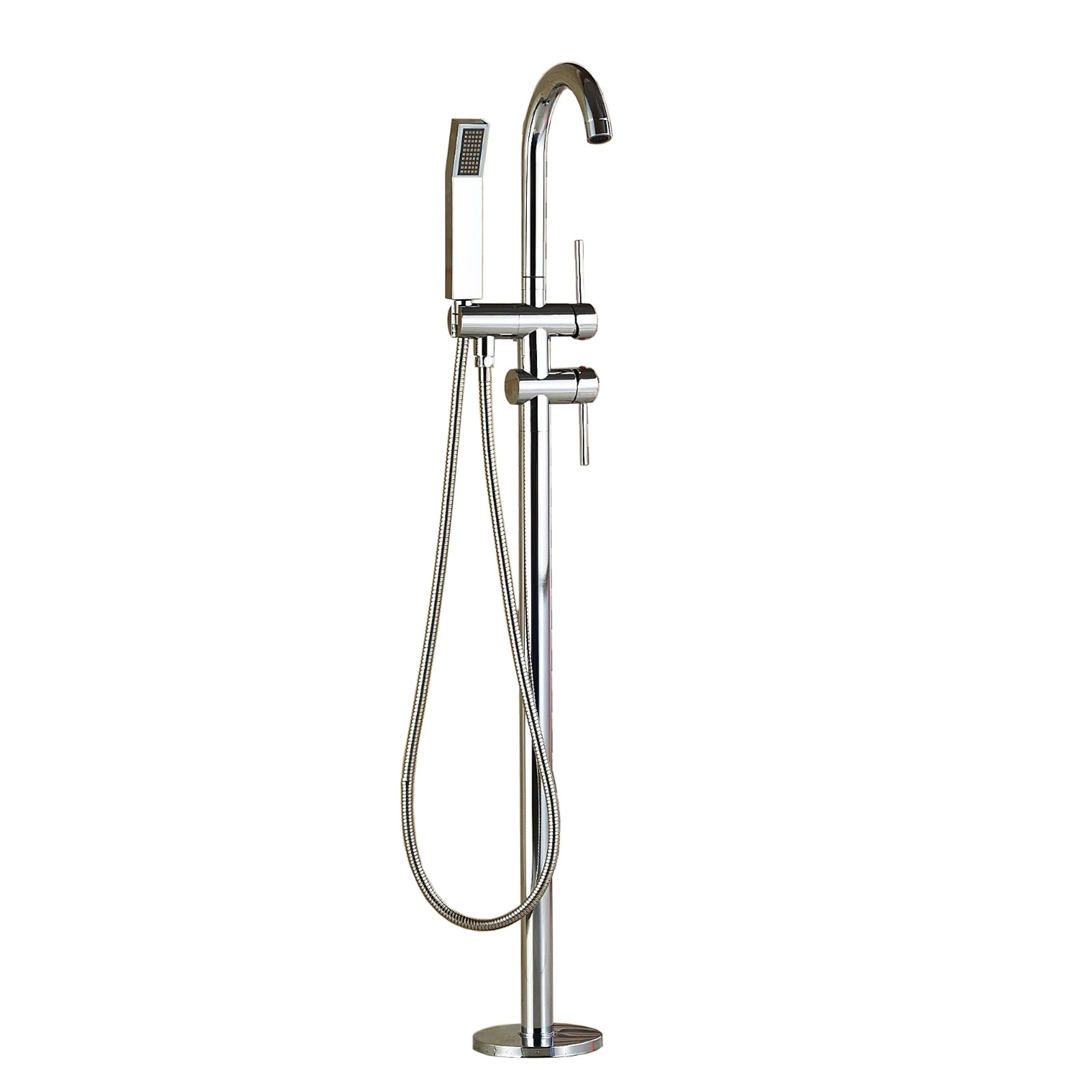 Votamuta Polished Chrome Brass Bathroom Floor Mount Bathtub Faucet with ABS Plastic Handshower Free Standing Tub Filler Tap
