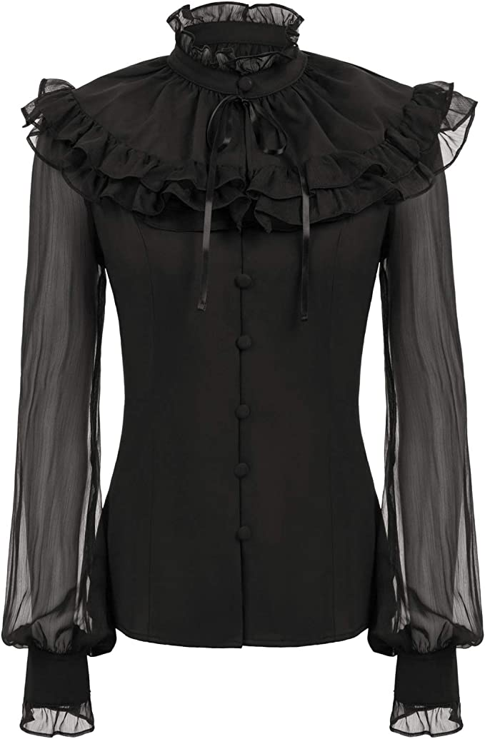 Edwardian Blouses | White & Black Lace Blouses & Sweaters SCARLET DARKNESS Womens Victorian Ruffled Blouse Shirt Steampunk Gothic Cosplay Costume £25.99 AT vintagedancer.com
