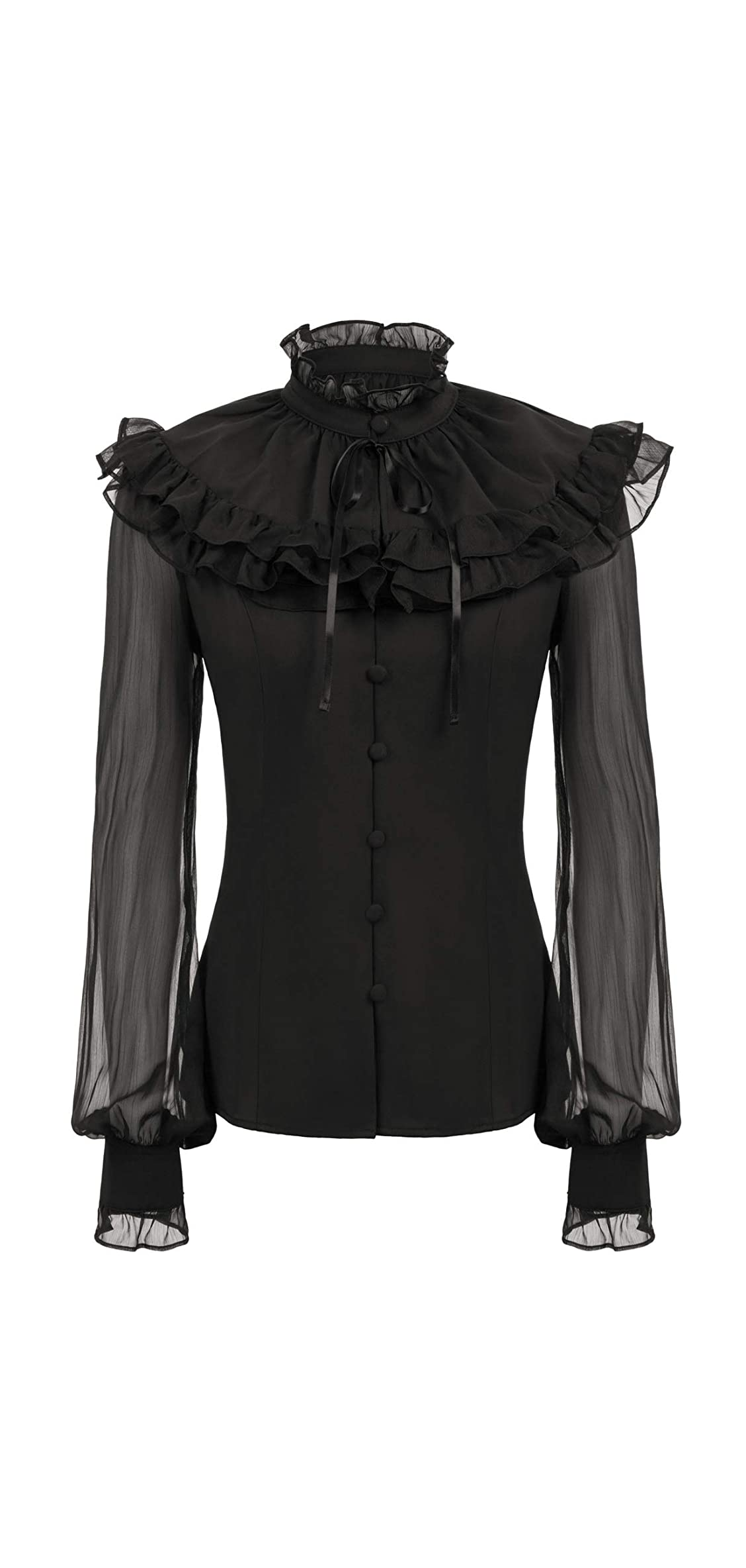 Womens Victorian Sheer Sleeve Lace Up Back