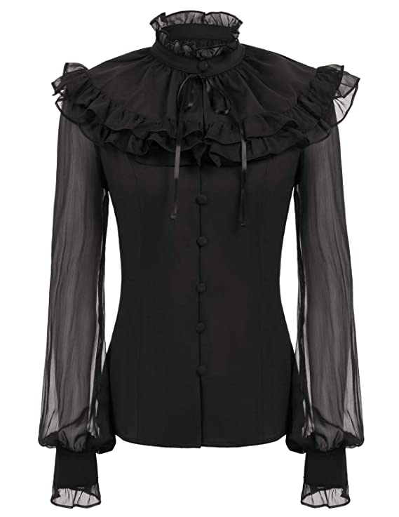 Victorian Clothing, Costumes & 1800s Fashion SCARLET DARKNESS Womens Victorian Sheer Sleeve Lace Up Back Ruffled Blouse +Cape $22.90 AT vintagedancer.com