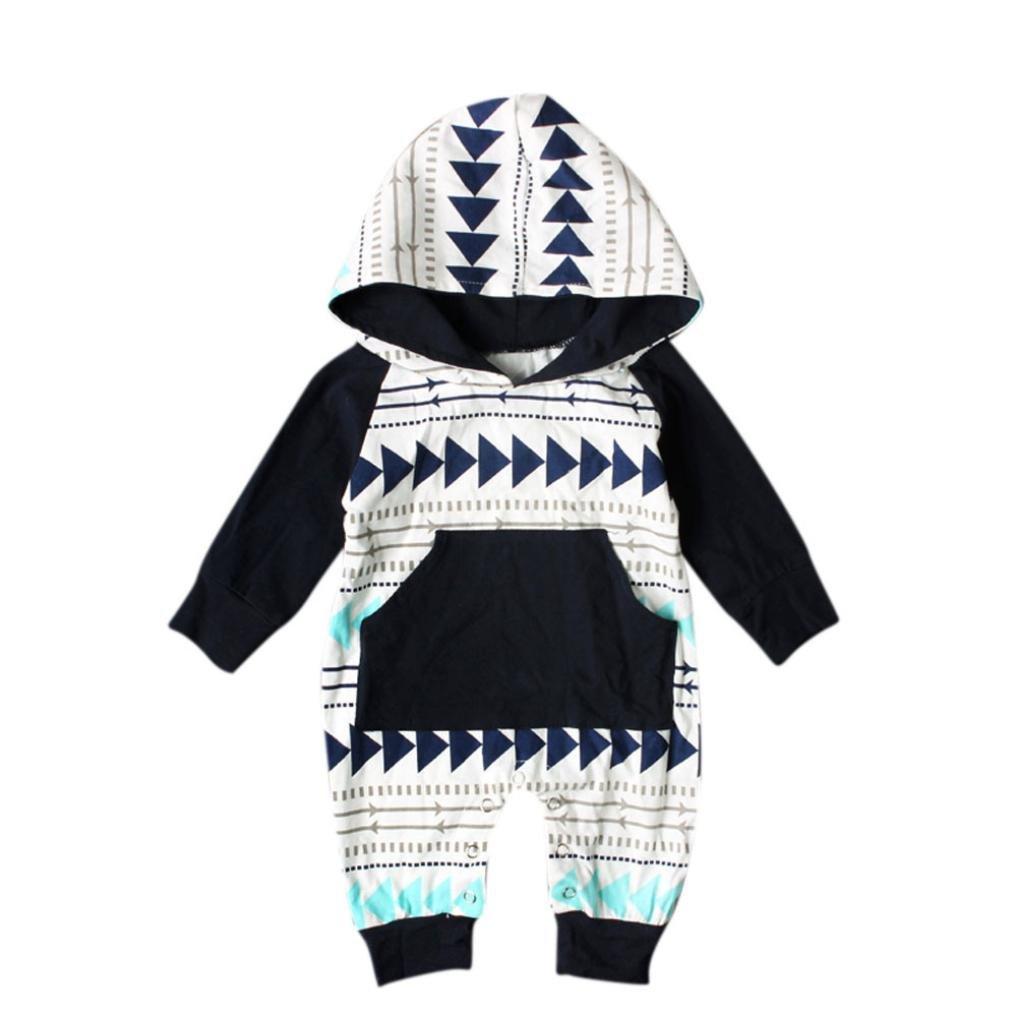 Ropa Bebé , Amlaiworld Recién nacido bebé niño niña geometría impresión encapuchado mameluco trajes 0-24 Mes