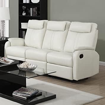 monarch specialties i 81iv 3 ivory bonded leather reclining sofa in