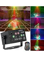 Apsung Luces de discoteca para fiestas, RGB Efecto Aurora Proyector Luz estroboscópica Luces activadas por sonido con control remoto para Navidad Halloween Cumpleaños Fiesta de baile Boda KTV Bar