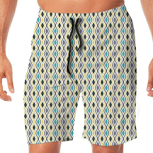 Haixia Men Quick Dry Board Short Abstract Vertical Waves Curvy Lines Oval Drop by Haixia