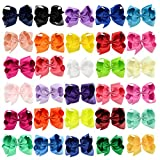 Jaciya 30 Pack Girls Grosgrain Hair Clips Hair Bows With Alligator Clips 6 Inch Boutique Big Rainbow Bows For Kids Teens Toddlers, 30 Colors