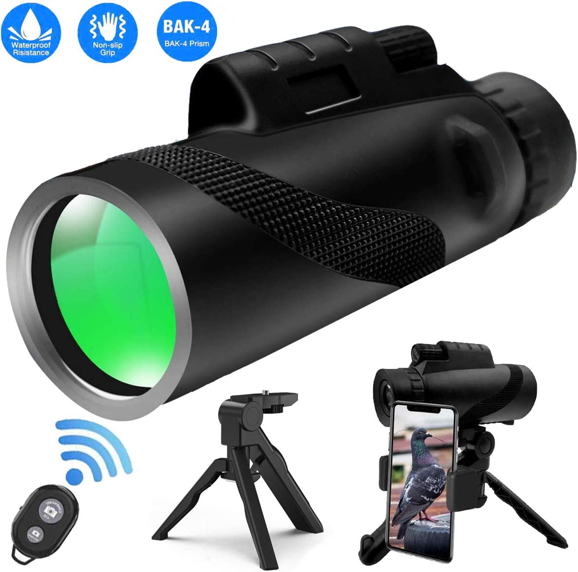 Monocular Telescope, 12×50 Monocular Scope with BAK4 Prism, Rotating Eye Mask, Phone Adapter and Wireless Camera Shutter Remote Control for Bird Watching Hunting Camping Travelling