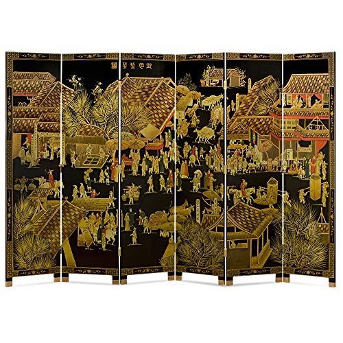 ChinaFurnitureOnline Chinoiserie Floor Screen, Hand Painted Spring Festival Design Room Divider Black and Yellow