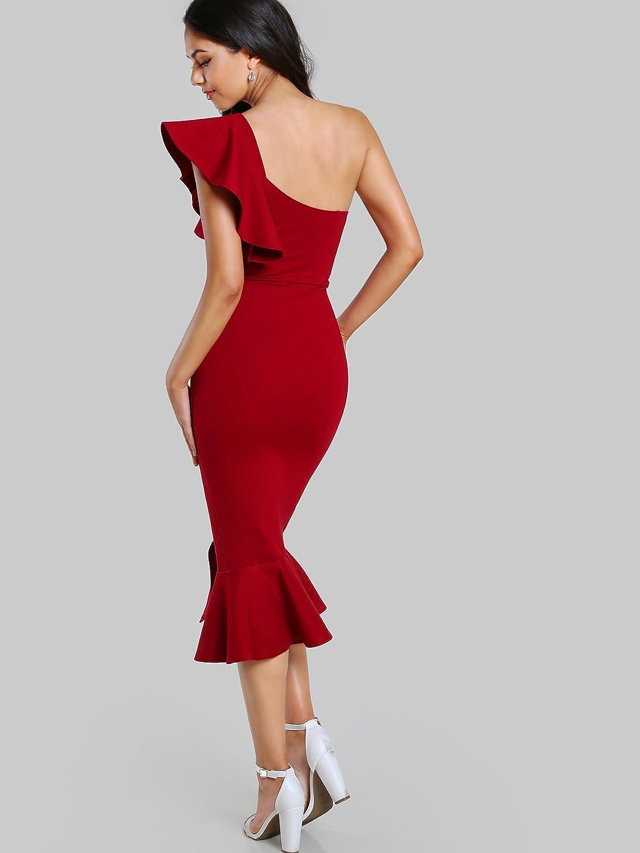 2e3c26bc490 Floerns Women s Ruffle One Shoulder Split Midi Party Bodycon Dress at  Amazon Women s Clothing store