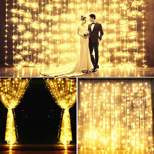 YULIANG Led Curtain Lights 300led 3m3m/9.8Ft9.8Ft Christmas Curtain String Fairy Lights for Home, Garden, Kitchen, Outdoor Wall, Party, Wedding, Window Decorations 110v Us Plug