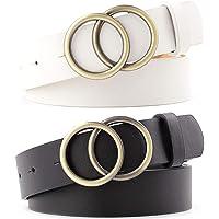 JoGoi 2pcs Cinturón Mujer Cinturones de Cintura de Cuero Sintético con Hebilla de Double O-Ring