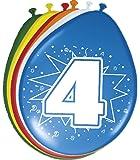 8 Ballons quatrième Anniversaire coloré