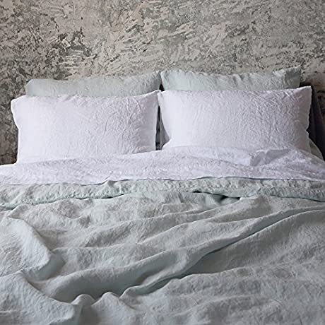 LinenMe 0490707 Stone Washed Linen Duvet Ice Blue