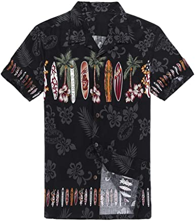 Palm Wave Hombres Aloha Camisa Hawaiana en Tabla de Surf Cruz en Negro: Amazon.es: Ropa y accesorios