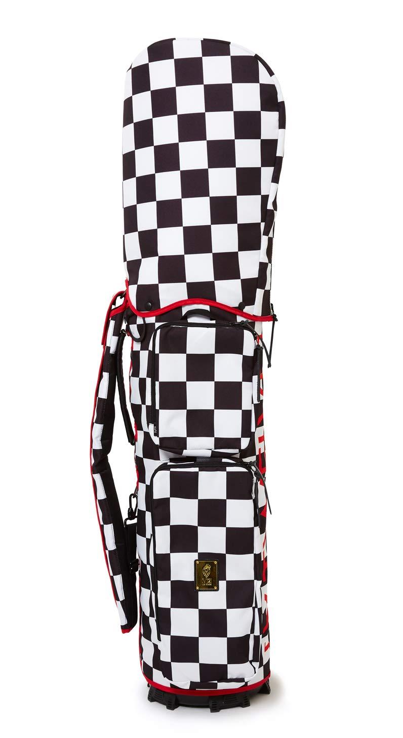 ヴィトゥエルブ ゴルフ メンズ レディース キャディバッグ 9.5型 着せ替えできる チェッカー柄 存在感抜群 2019 春夏 ゴルフ B07NY543HP ホワイト×ブラック(WHT-BLK) 9.5(9-5)