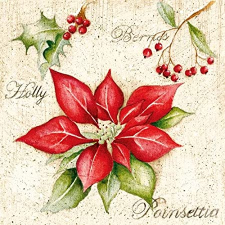 4 Poinsettia Design Noël Serviettes
