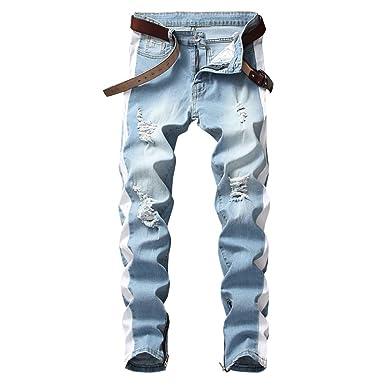 9bf96e1ea70ccc LONGBIDA Men's Slim Fit Jeans Stretch Destroyed Ripped Skinny Side Striped  Ankle Zipper Denim Pencil Pants