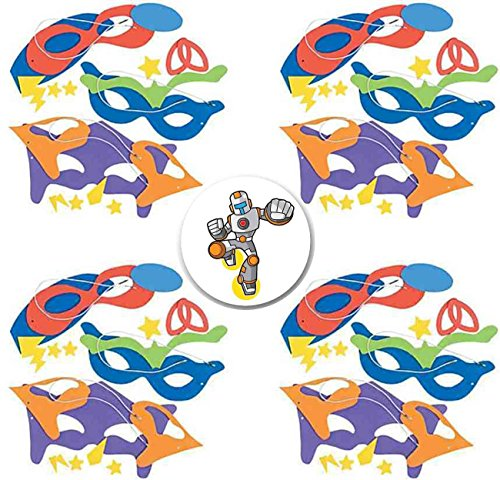 Mask Craft Kit (24 Superhero Masks Craft Kits plus Birthday Superhero Button)
