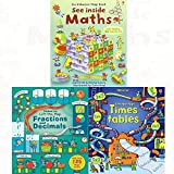 See inside maths, lift the flap times tables book, fractions and decimals [board book] 3 books collection set