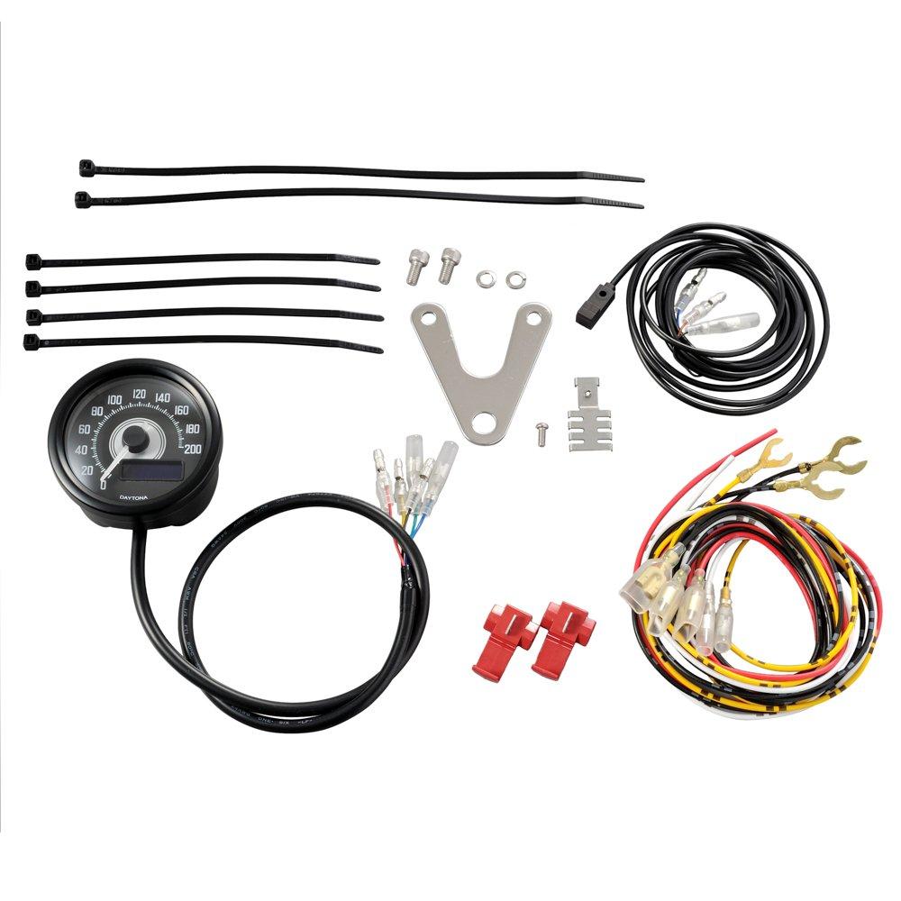 DAYTONA VELONA - Speedometer 200 MPH/KMH Black Body, Black Panel / White LED Background
