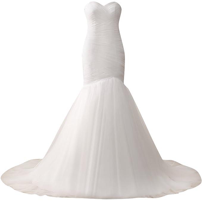 HUINI Tirantes Sirena Vestidos de Novia Sencillo Plisado Tul Nupcial Vestidos Tama?o 32