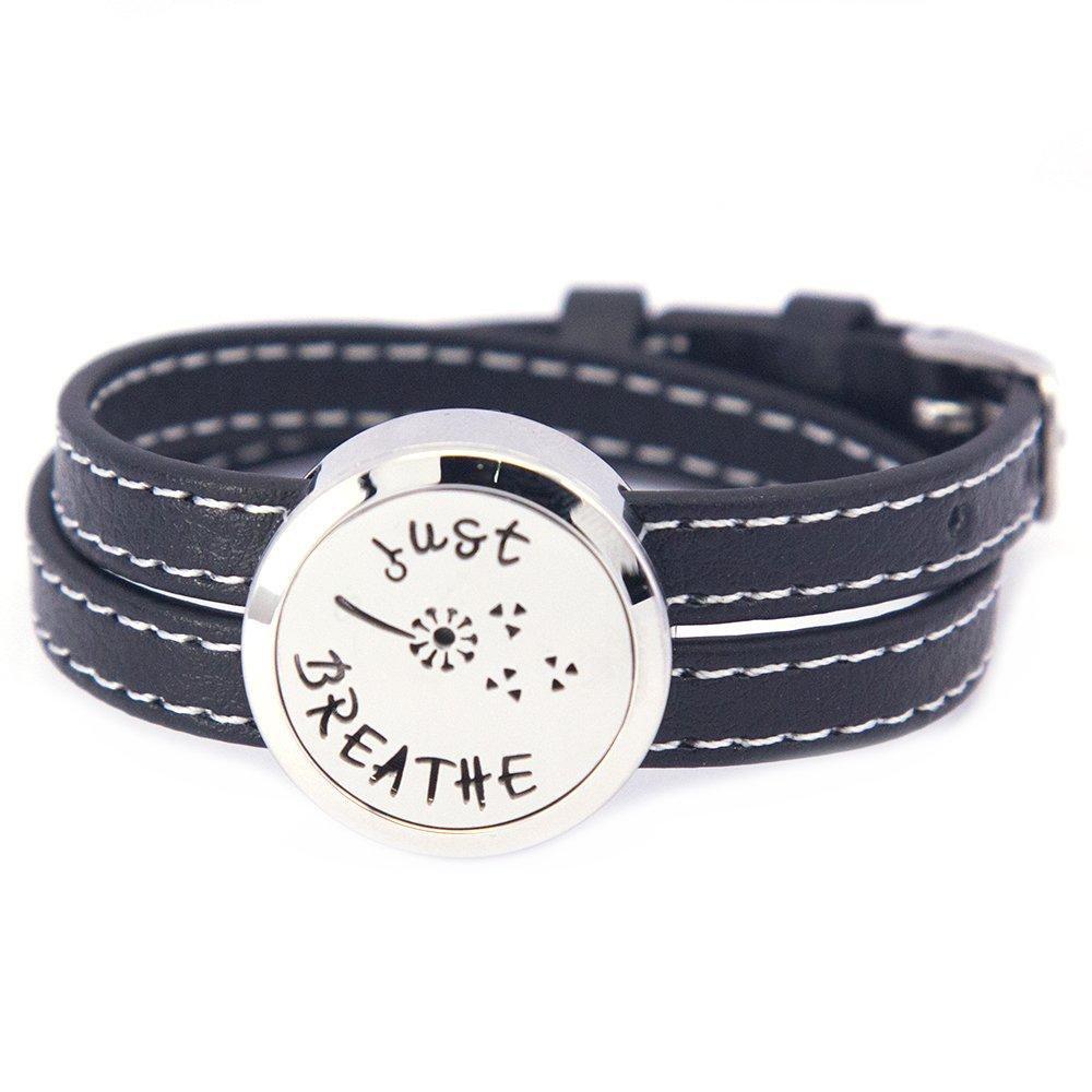 Mesinya Black Genuine Leather 1'' Just Breathe Bracelet / 316L S.Steel Essential Oils Diffuser Locket Bangle 6''-7''wrist MESINYAB-0042