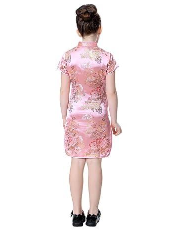 Girls Colorful Peony Chinese Dress