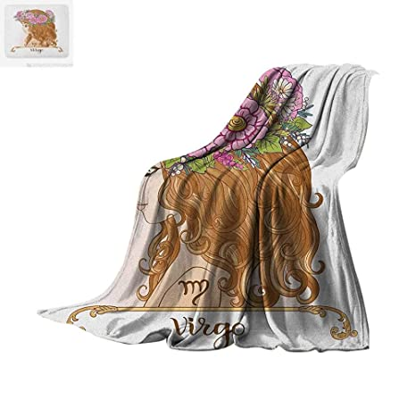 ab81fcbe7fab Amazon.com  Virgo Throw Blanket Girl with Flower Crown Astrology ...