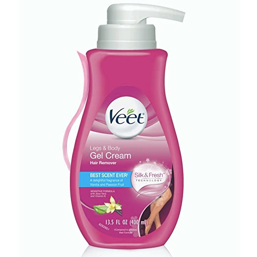 Hair Remover, Veet Gel Hair Removal Cream Sensitive, 13.5 Ounce, Sensitive formula with Aloe Vera and Vitamin E ( Packaging May Vary ) best hair removal creams for women