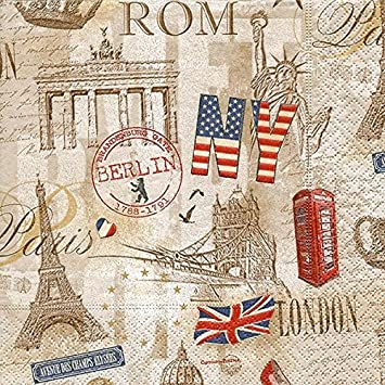 luxury vintage decorative paper napkins tableware decoupage craft party occasion capitals all over n26 - Decorative Paper Napkins