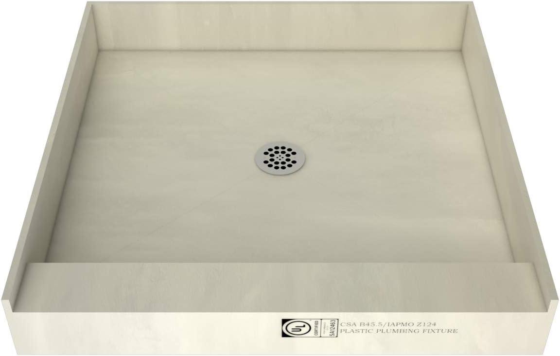 """Tile Redi 4242C-PVC Redi Base Shower Pan, 42"""" W x 42"""" D, Polished Chrome"""