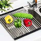 "Angelbubbles Dish Drying Rack Stainless Steel Roll-Up Detachable Over Sink Easy Cleaning (Black, S/17.71"" x 10.03"")"