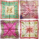 """LilMents 4 Mixed Designs Large 35"""" × 35"""" Square Polyester Satin Neck Head Scarf Scarves Set (Set H)"""