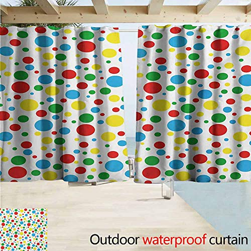(AndyTours Outdoor Waterproof Curtains,Colorful Multicolored Traditional Polka Dots with Many Sizes Circus Themed Illustration,Rod Pocket Energy Efficient Thermal Insulated,W55x39L Inches,Multicolor)
