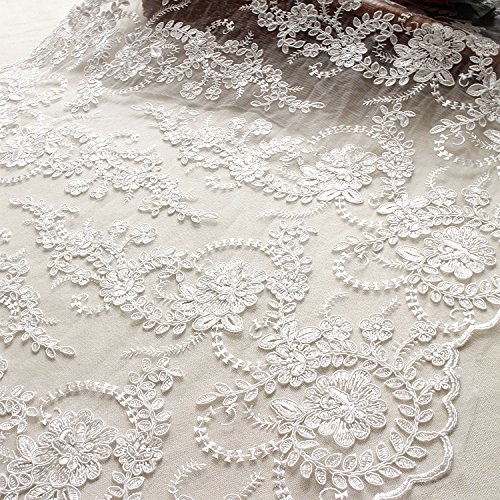 Width 60cm Cream White Embroidery Flower Handmade Bride Wedding Floral Craft Soft Delicate With Sequins Lace Fabric For Clothing Accessories 5 Yards