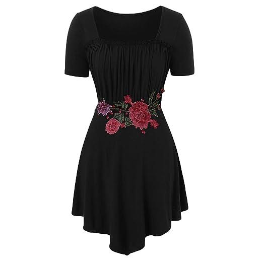 df5fa7d158c8a TUSANG Women Tees Plus Size Fashion Embroidery Applique O-Neck Short Sleeve  T-Shirt