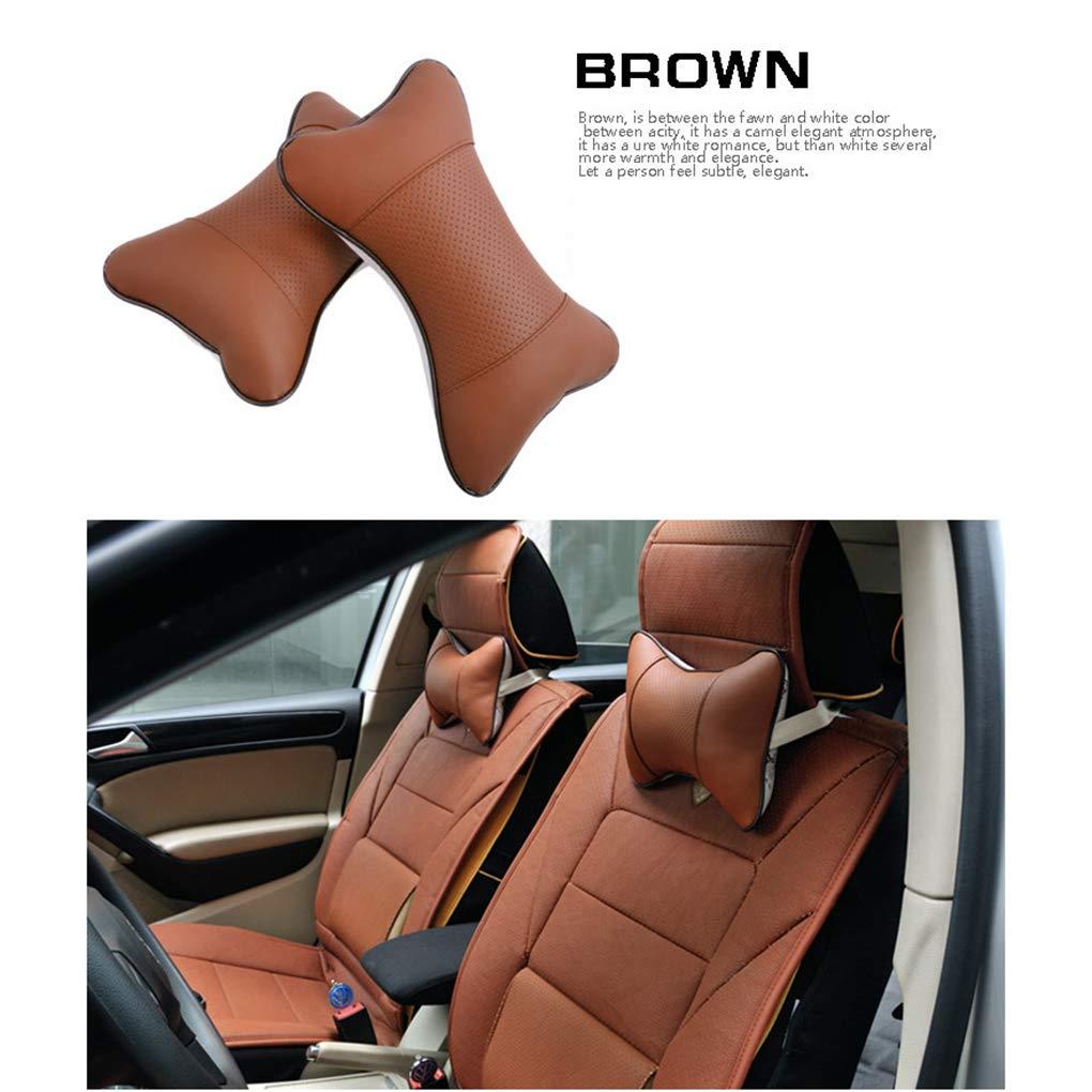 2pcs Auto Seat Head Support Pillow Neck Rest Artificial Leather Cushion Bone Shaped Headrest