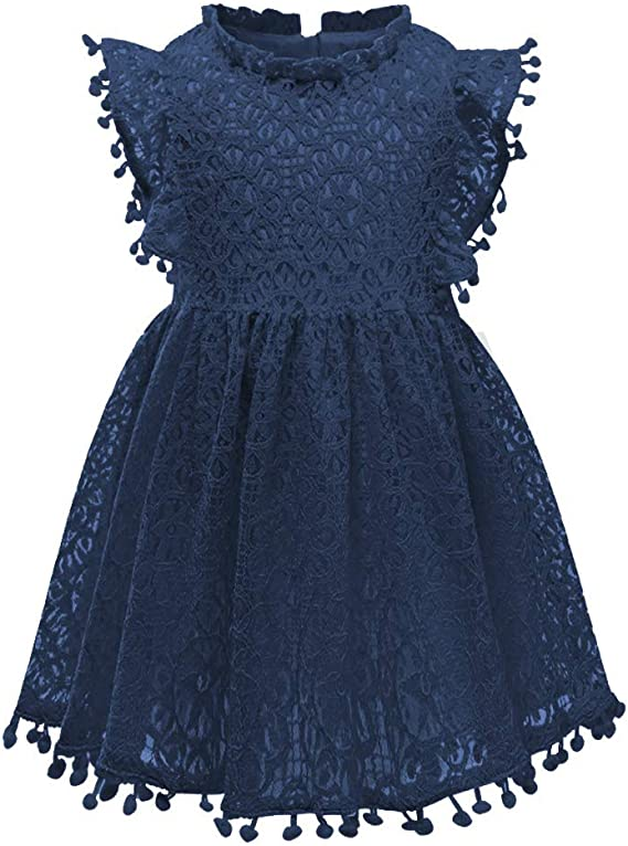 Csbks Toddler Girls Cute Pompoms Lace Floral Elegant Retro Swing Party Dress