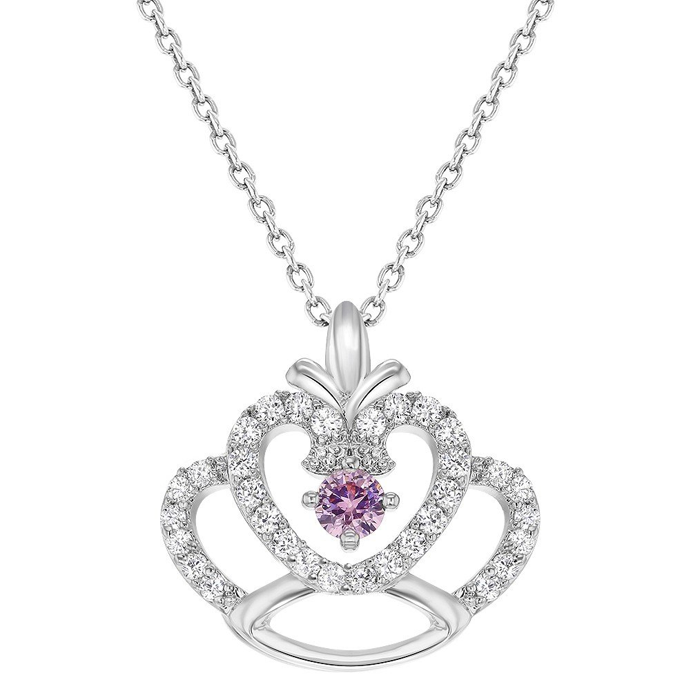 Rhodium Plated Princess Crown Pendant Pink Clear Crystal Girls Kids Necklace 16 In Season Jewelry 04-0270