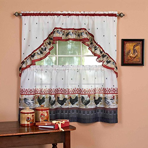 3 Piece Burgundy Grey Rooster Kitchen Tiers Swag Set 57 X 24 Inch, Red Color Chicken Kitchen Curtains Log Cabin Lodge Cottage Motif Window Treatment Morning Country Themed Traditional Rustic Polyester (Motif Rooster)