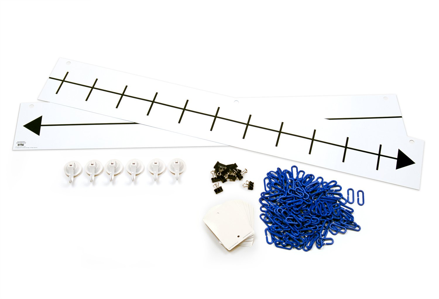 Learning Advantage F.U.N. Empty Number Line System - 182-Piece Blank Hanging Number Line with 25 Write On/Wipe Off Cards - Teach Beginner Math, Addition, Subtraction and Other Concepts